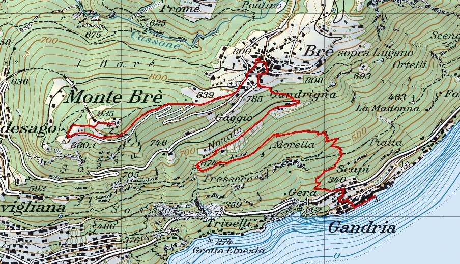 Karte Brè Gandria