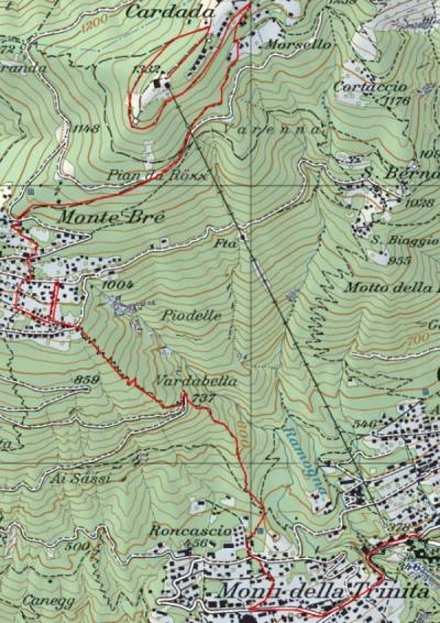 Wanderung Cardada Monti della trinità
