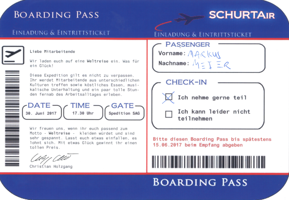 Boardingpass Schurtair